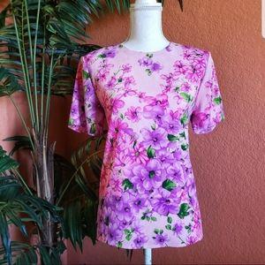 Maggie Sweet Floral Print Blouse Short Sleeve Pink